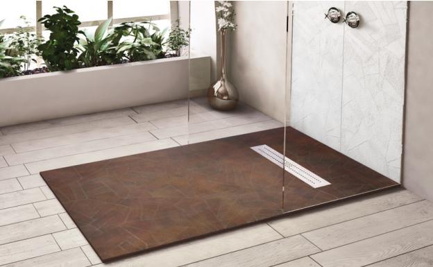 Plato de ducha marrón