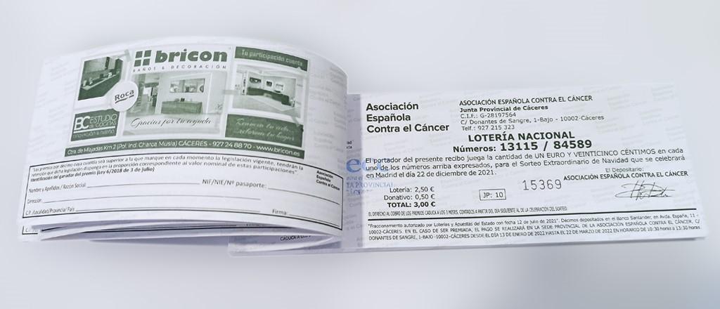 Participación de lotería de Navidad BRICON Cáceres